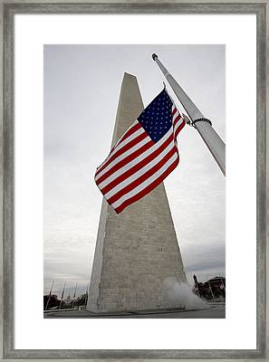 View Of American Flag Framed Print by Tim Laman