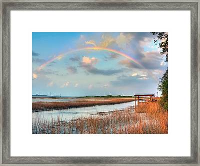 View Of Charleston Rainbow  Framed Print by Jenny Ellen Photography