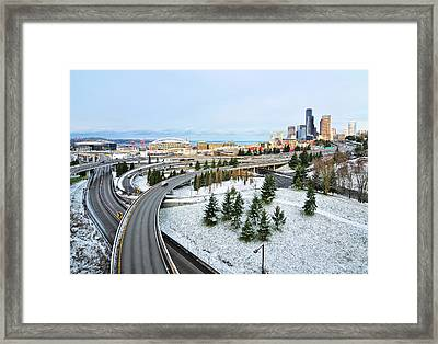 View Of City In Winter Framed Print by Hai Huu Thanh Nguyen