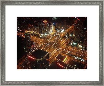 View Of Cityscape At Night Framed Print by Philip M Walker