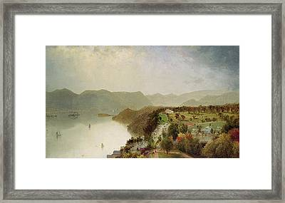 View Of Cozzen's Hotel Near West Point Ny Framed Print by John Frederick Kensett