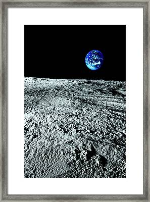 View Of Earth From The Moon Framed Print by Caspar Benson