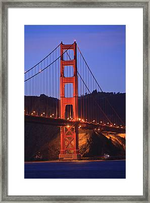 View Of Golden Gate Bridge At Dusk San Framed Print by Stuart Westmorland