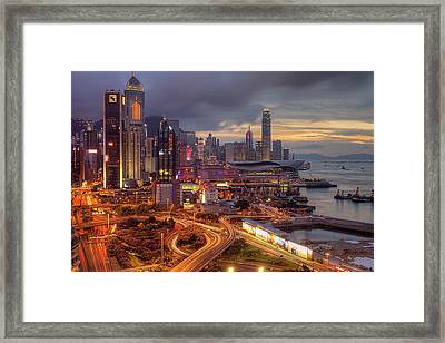 View Of Hong Kong Framed Print by Marty Windle