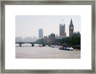 View Of  Houses Of Parliament, London, England, Uk Framed Print