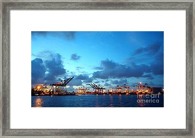 View Of Kaohsiung Harbor At Dusk Framed Print by Yali Shi