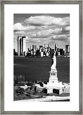 View Of Manhattan, The Statue Framed Print