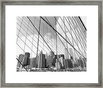 View Of New York From Brooklyn Bridge, Usa Framed Print by Martin Child