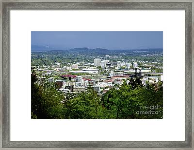 View Of Portland Oregon From Pittock Mansion  Framed Print by Sherry  Curry