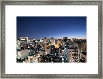 View Of Sao Paulo At Night Framed Print by Priscila Zambotto