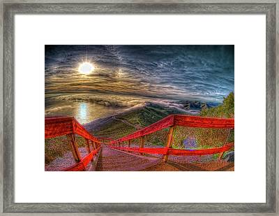 View Of Sun Into Sea At Marin Headlands Framed Print by Image by Sean Foster