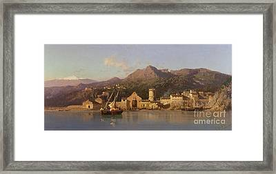 View Of Taormina Sicily Framed Print by Alessandro la Volpe