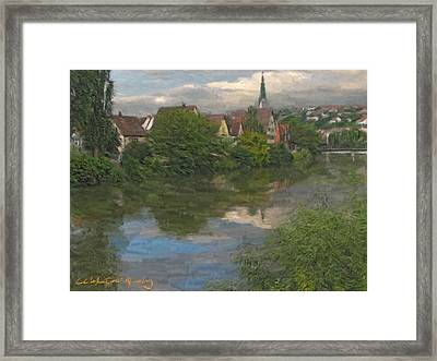 View Of The Cathedral In Rottenburg On Neckar Framed Print by Nikolay Vakatov