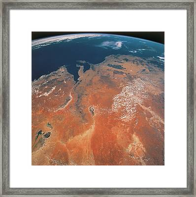 View Of The Earth From Outer Space Framed Print by Stockbyte