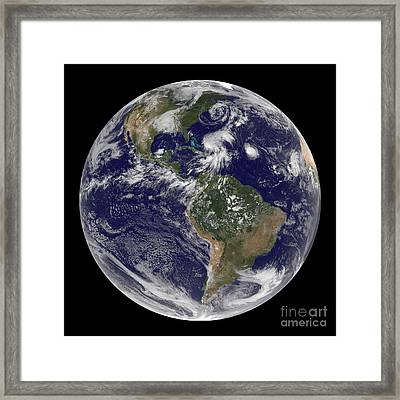 View Of The Full Earth And Four Storm Framed Print by Stocktrek Images