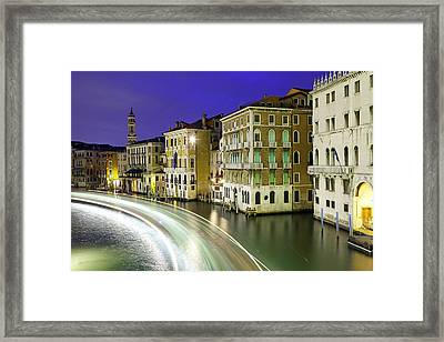 View Of The Grand Canal From Rialto Bridge Framed Print by Scott E Barbour