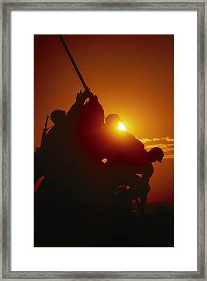 View Of The Iwo Jima Monument Taken Framed Print by Richard Nowitz