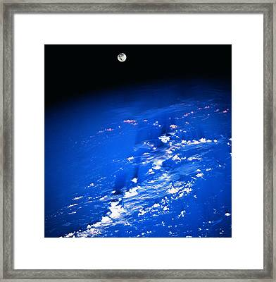 View Of The Moon Above The Earth Framed Print by Stockbyte