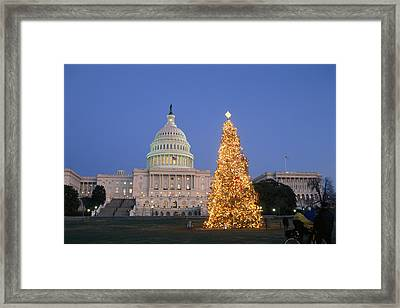 View Of The National Christmas Tree Framed Print by Richard Nowitz