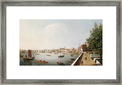 View Of The River Thames From The Adelphi Terrace  Framed Print by William James