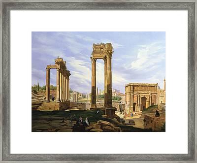 View Of The Roman Forum Framed Print by Jodocus Sebasiaen Adeele