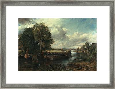 View Of The Stour Near Dedham Framed Print by John Constable