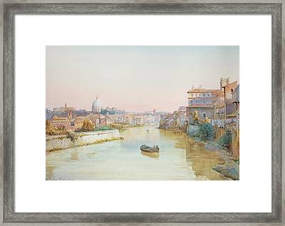 View Of The Tevere From The Ponte Sisto  Framed Print by Ettore Roesler Franz