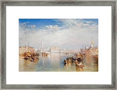 View Of Venice The Ducal Palace Dogana And Part Of San Giorgio Framed Print by Joseph Mallord William Turner