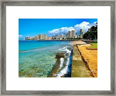 View Of Waikiki Framed Print by Joe Finney