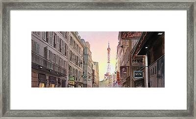 View On Eiffel Tower From Rue Saint Dominique Paris France Framed Print