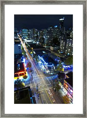 View On Vancouver By Night Framed Print
