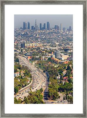View Over Hollywood & Downtown Los Angeles Framed Print by Photograph by Geoffrey George