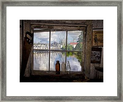 View Through Fish House Window Framed Print