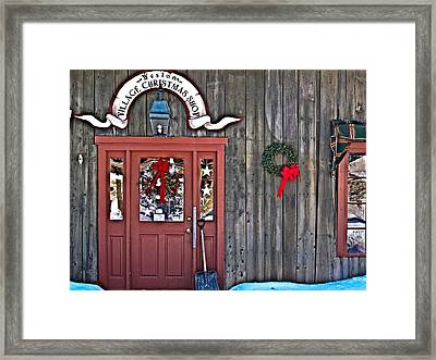 Village Christmas Shop Framed Print