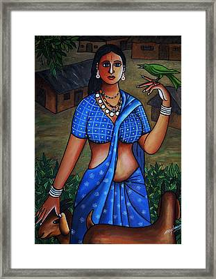 Village Girl Framed Print by Johnson Moya