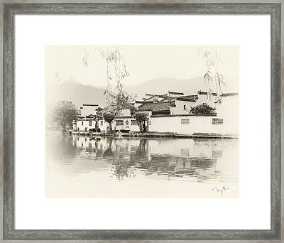 Village On Water Framed Print by Nian Chen