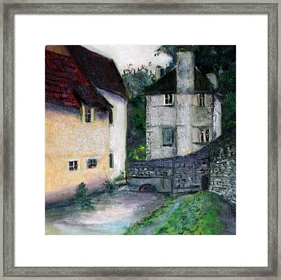 Framed Print featuring the painting Village Scene by Rosemarie Hakim