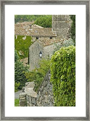 Village Street And Streetlamps Framed Print