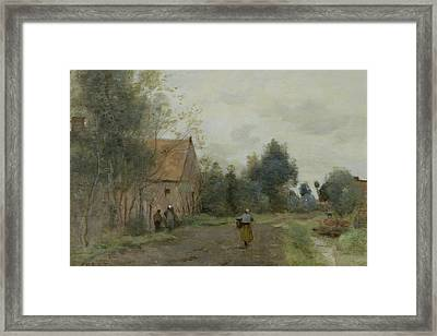 Village Street In The Morning Framed Print by Jean Baptiste Camille Corot