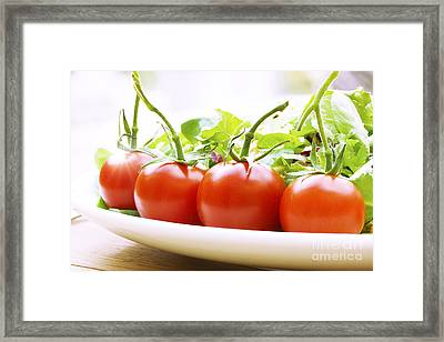 Vine Tomatoes On A Salad Plate Framed Print by Simon Bratt Photography LRPS