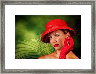 Vintage - Red Hat Lady Framed Print