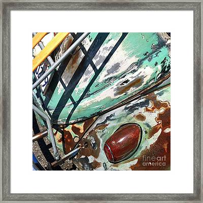 Vintage 1961 Volkswagon Green Framed Print by Gwyn Newcombe