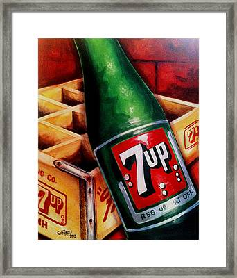 Vintage 7up Bottle Framed Print by Terry J Marks Sr