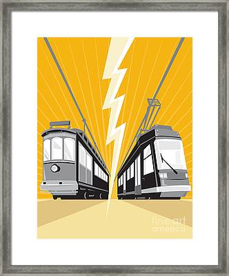 Vintage And Modern Streetcar Tram Train Framed Print by Aloysius Patrimonio
