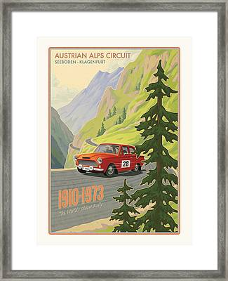 Vintage Austrian Rally Poster Framed Print by Mitch Frey
