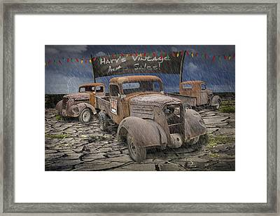 Vintage Auto Sales By Harv Framed Print by Randall Nyhof