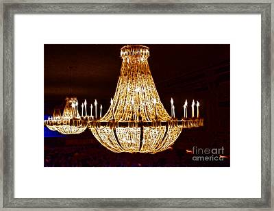 Vintage Ballroom Chandalier Fractal Framed Print by Darleen Stry