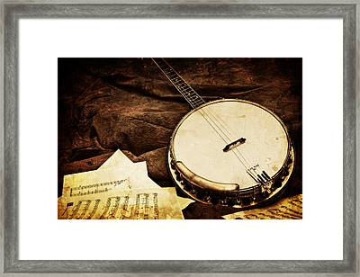 Vintage Banjo Framed Print by Trudy Wilkerson
