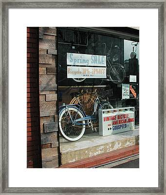 Vintage Bicycle And American Junk  Framed Print