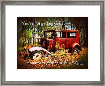 Vintage Birthday Greeting Framed Print by Cindy Wright